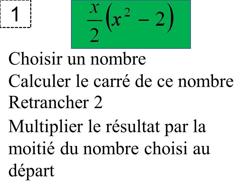 Choisir un nombre 1 Calculer le carré de ce nombre Retrancher 2 Multiplier le résultat par la moitié du nombre choisi au départ