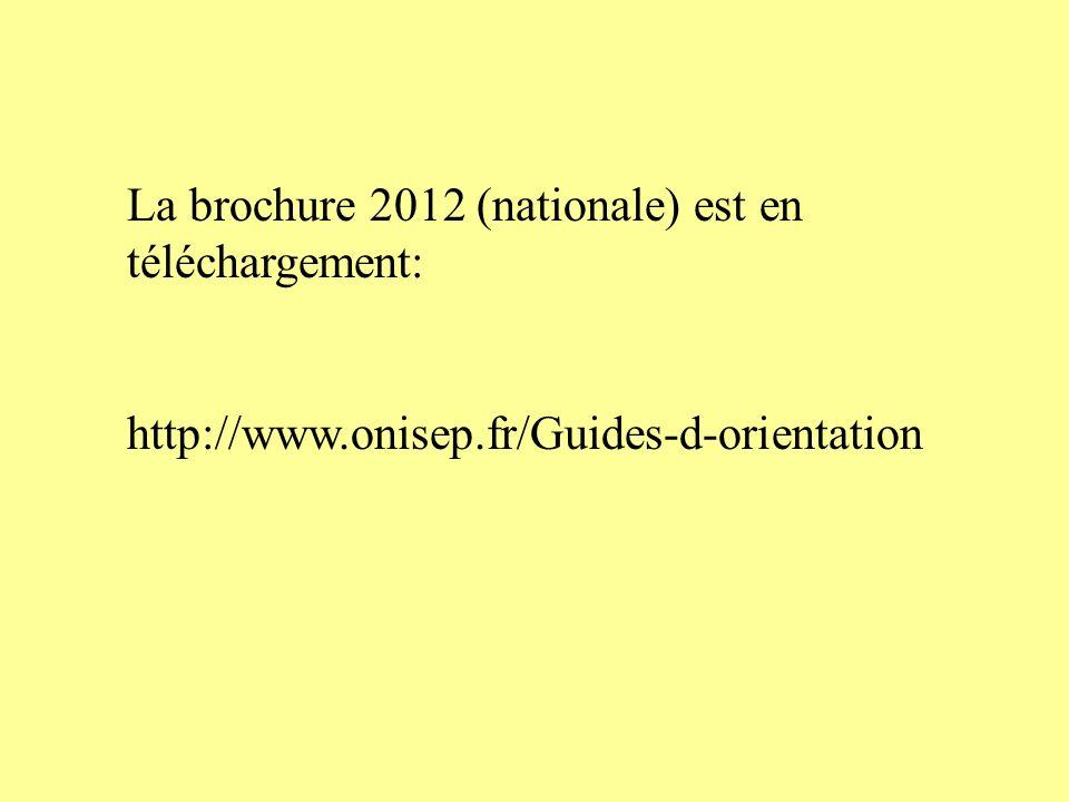 La brochure 2012 (nationale) est en téléchargement: http://www.onisep.fr/Guides-d-orientation