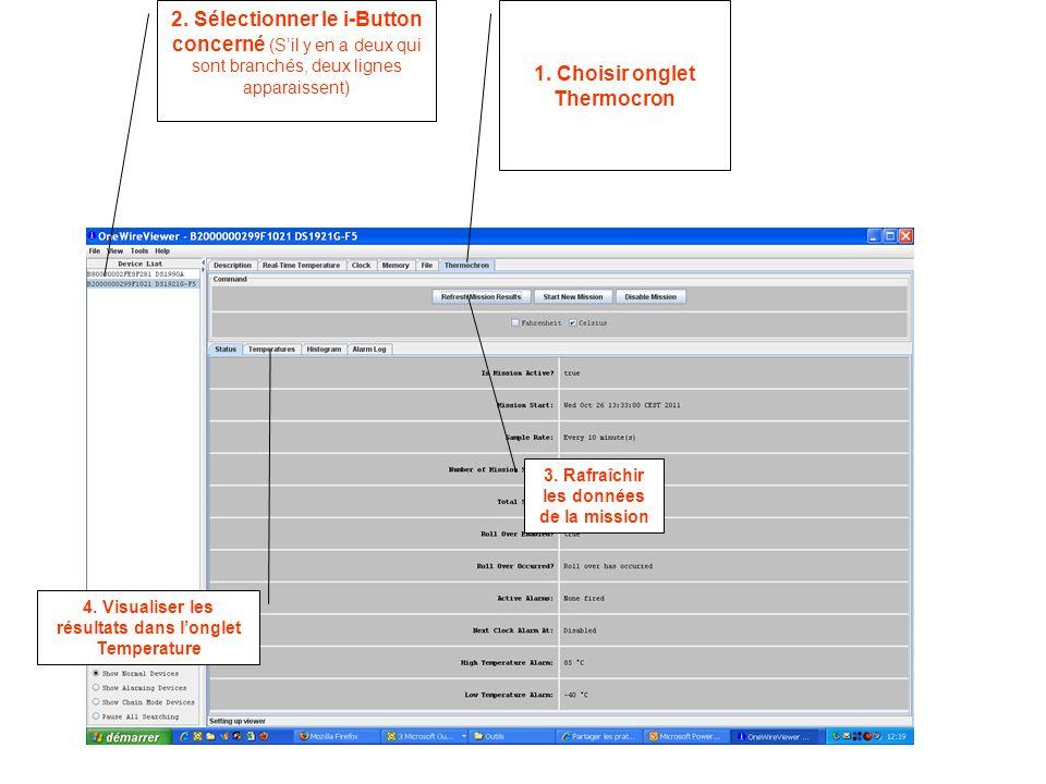 3. Rafraîchir les données de la mission 1. Choisir onglet Thermocron 2.