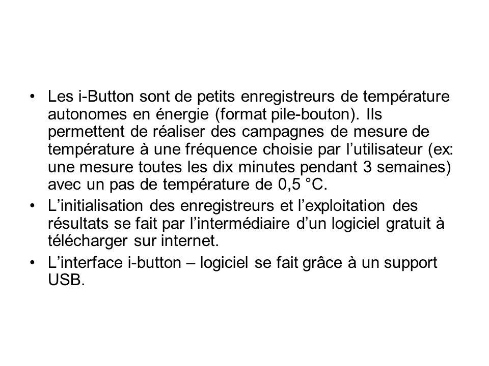 Les i-Button sont de petits enregistreurs de température autonomes en énergie (format pile-bouton).