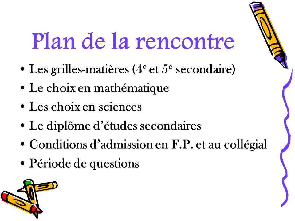 Plan de la rencontre Les grilles-matières (4 e et 5 e secondaire) Le choix en mathématique Les choix en sciences Le diplôme détudes secondaires Condit