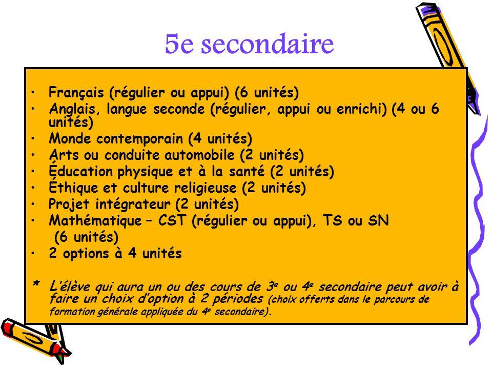 Français (régulier ou appui) (6 unités) Anglais, langue seconde (régulier, appui ou enrichi) (4 ou 6 unités) Monde contemporain (4 unités) Arts ou con