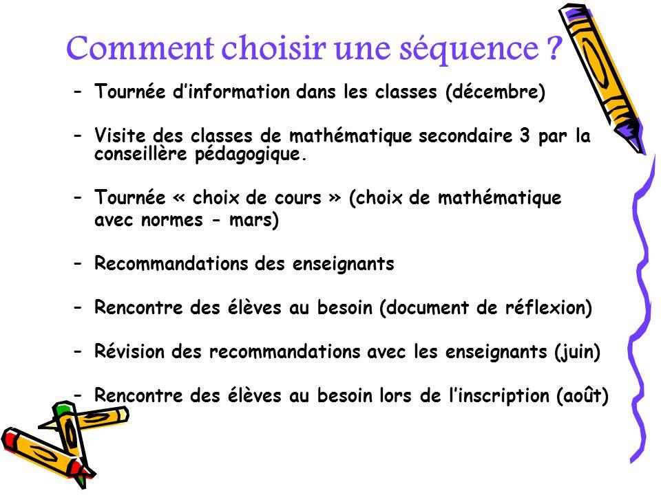 Comment choisir une séquence ? –Tournée dinformation dans les classes (décembre) –Visite des classes de mathématique secondaire 3 par la conseillère p
