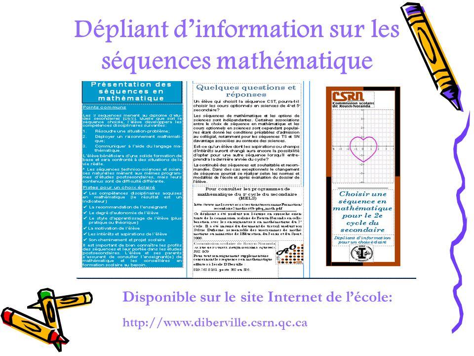 Dépliant dinformation sur les séquences mathématique Dépliant dinformation pour un choix éclairé Choisir une séquence en mathématique pour le 2e cycle