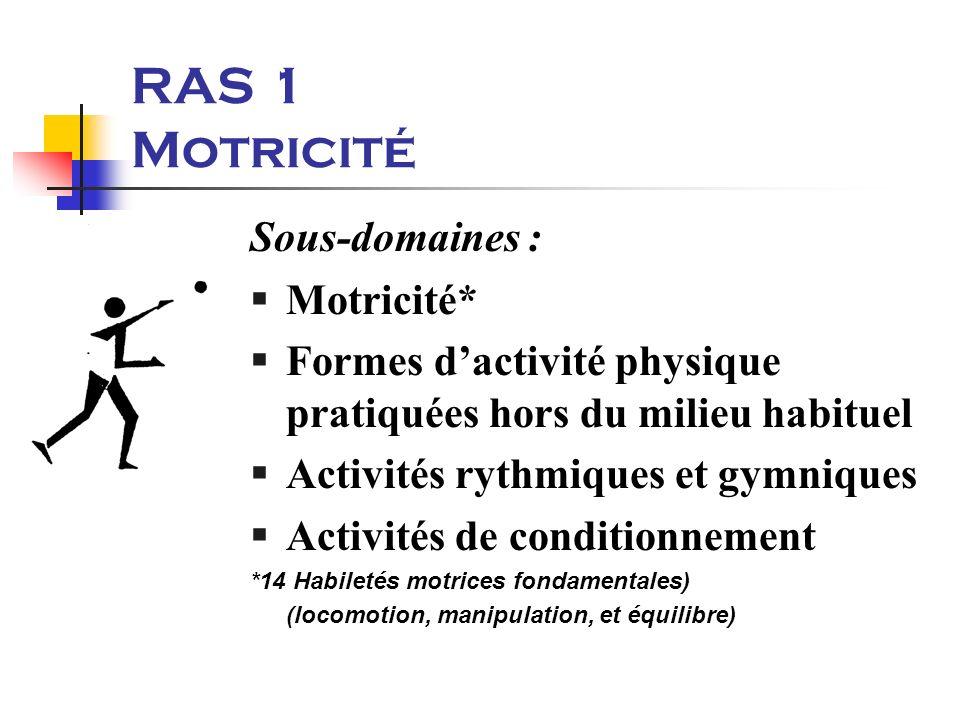 RAS 1 Motricité Sous-domaines : §Motricité* Formes dactivité physique pratiquées hors du milieu habituel §Activités rythmiques et gymniques §Activités de conditionnement *14 Habiletés motrices fondamentales) (locomotion, manipulation, et équilibre)