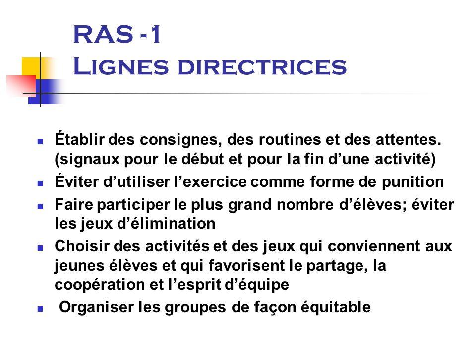 RAS -1 Lignes directrices Établir des consignes, des routines et des attentes.