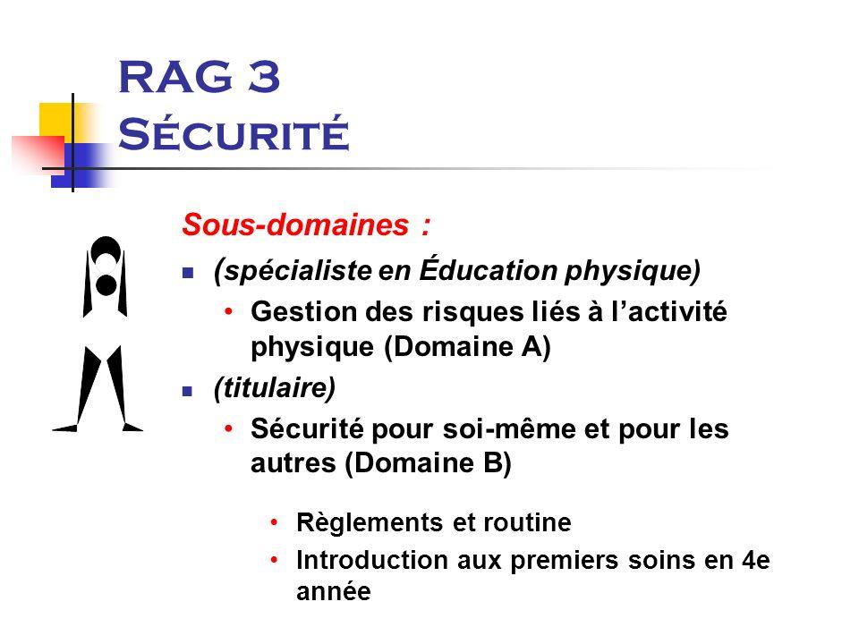 RAG 3 Sécurité Sous-domaines : ( spécialiste en Éducation physique) Gestion des risques liés à lactivité physique (Domaine A) (titulaire) Sécurité pour soi-même et pour les autres (Domaine B) Règlements et routine Introduction aux premiers soins en 4e année