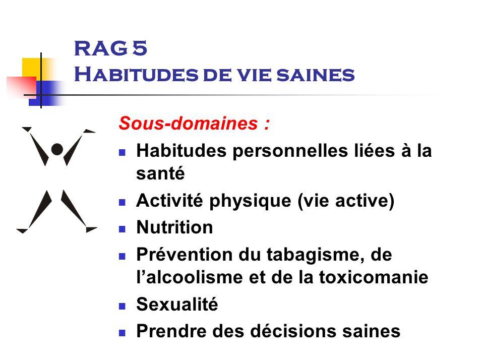 RAG 5 Habitudes de vie saines Sous-domaines : Habitudes personnelles liées à la santé Activité physique (vie active) Nutrition Prévention du tabagisme, de lalcoolisme et de la toxicomanie Sexualité Prendre des décisions saines