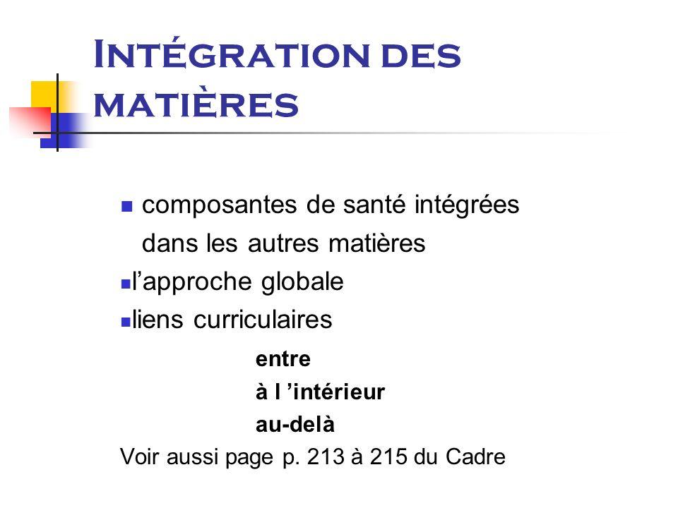 Intégration des matières composantes de santé intégrées dans les autres matières lapproche globale liens curriculaires entre à l intérieur au-delà Voir aussi page p.