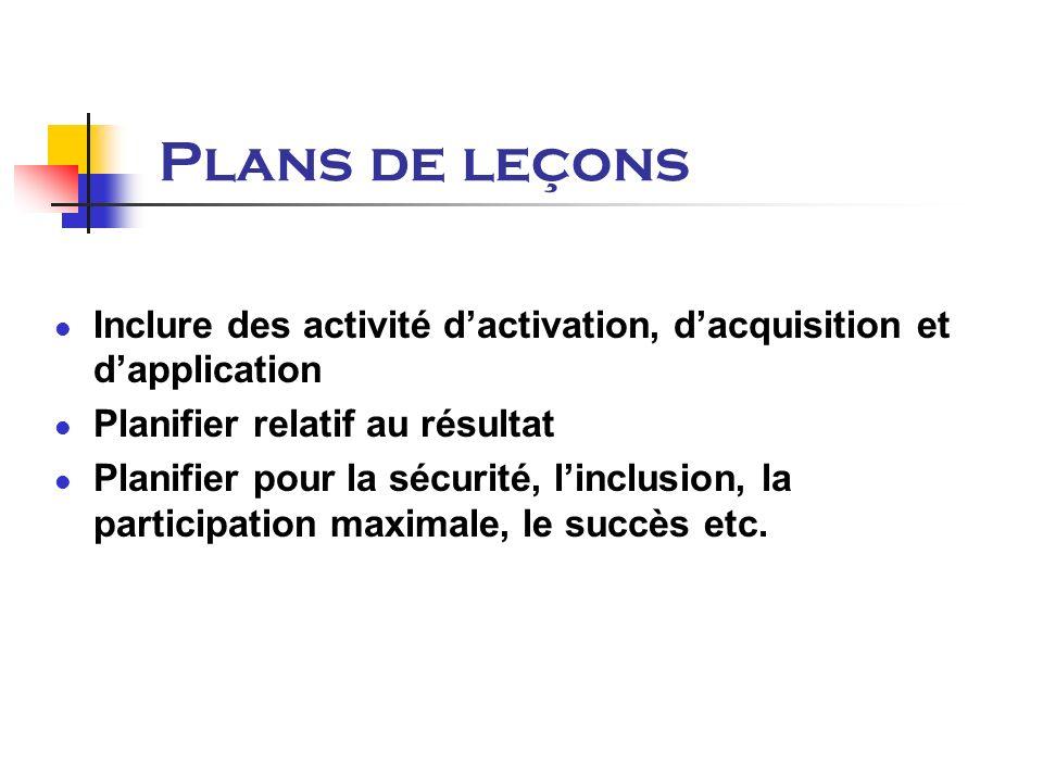 Plans de leçons Inclure des activité dactivation, dacquisition et dapplication Planifier relatif au résultat Planifier pour la sécurité, linclusion, la participation maximale, le succès etc.