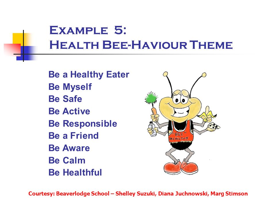Example 5: Health Bee-Haviour Theme Be a Healthy Eater Be Myself Be Safe Be Active Be Responsible Be a Friend Be Aware Be Calm Be Healthful Courtesy: Beaverlodge School – Shelley Suzuki, Diana Juchnowski, Marg Stimson