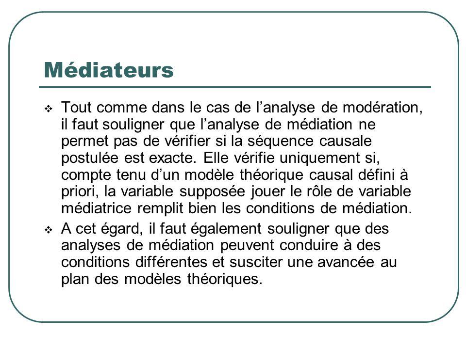 Médiateurs Tout comme dans le cas de lanalyse de modération, il faut souligner que lanalyse de médiation ne permet pas de vérifier si la séquence caus