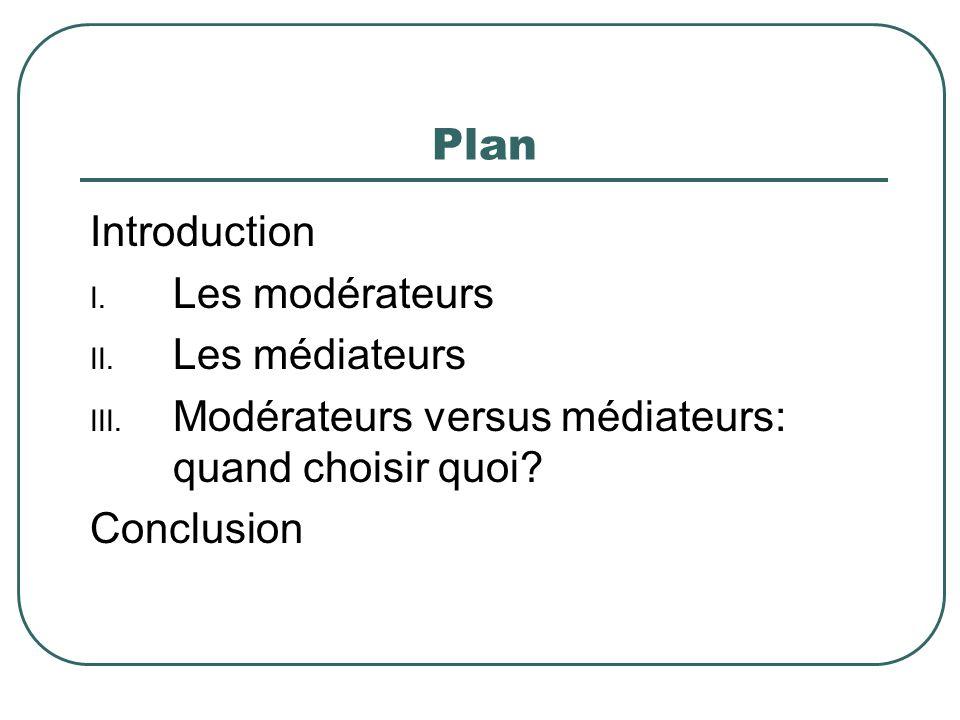 Plan Introduction I. Les modérateurs II. Les médiateurs III. Modérateurs versus médiateurs: quand choisir quoi? Conclusion