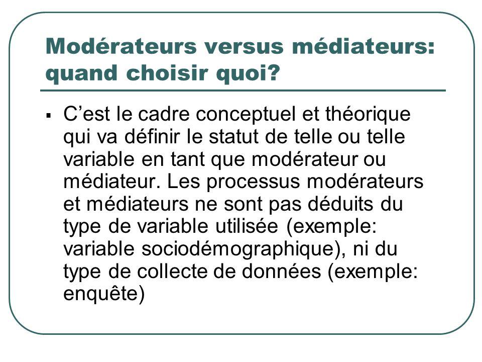Modérateurs versus médiateurs: quand choisir quoi? Cest le cadre conceptuel et théorique qui va définir le statut de telle ou telle variable en tant q