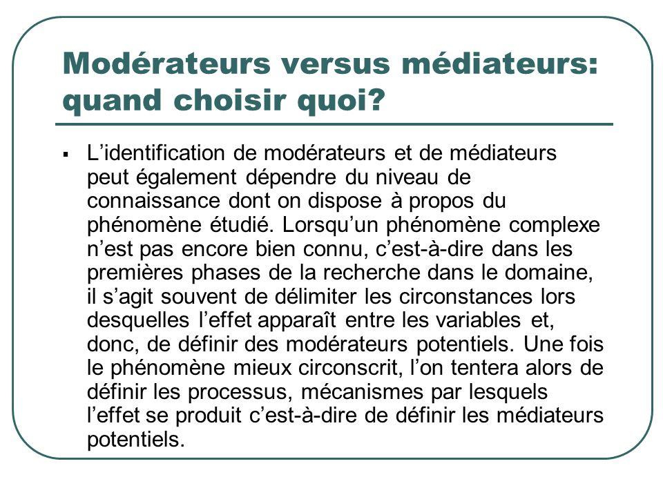 Modérateurs versus médiateurs: quand choisir quoi? Lidentification de modérateurs et de médiateurs peut également dépendre du niveau de connaissance d