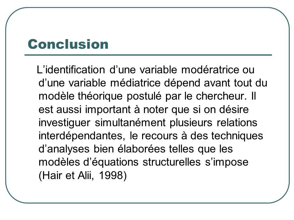 Conclusion Lidentification dune variable modératrice ou dune variable médiatrice dépend avant tout du modèle théorique postulé par le chercheur. Il es