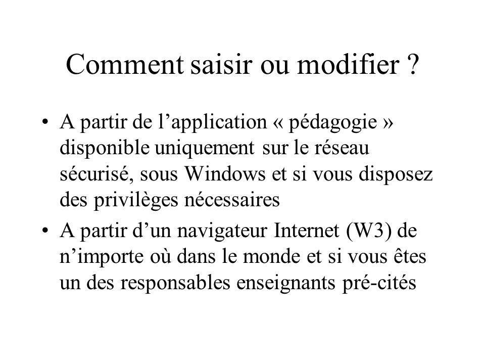 Comment saisir ou modifier ? A partir de lapplication « pédagogie » disponible uniquement sur le réseau sécurisé, sous Windows et si vous disposez des
