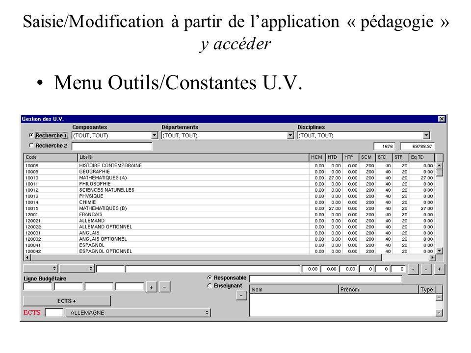 Saisie/Modification à partir de lapplication « pédagogie » y accéder Menu Outils/Constantes U.V.