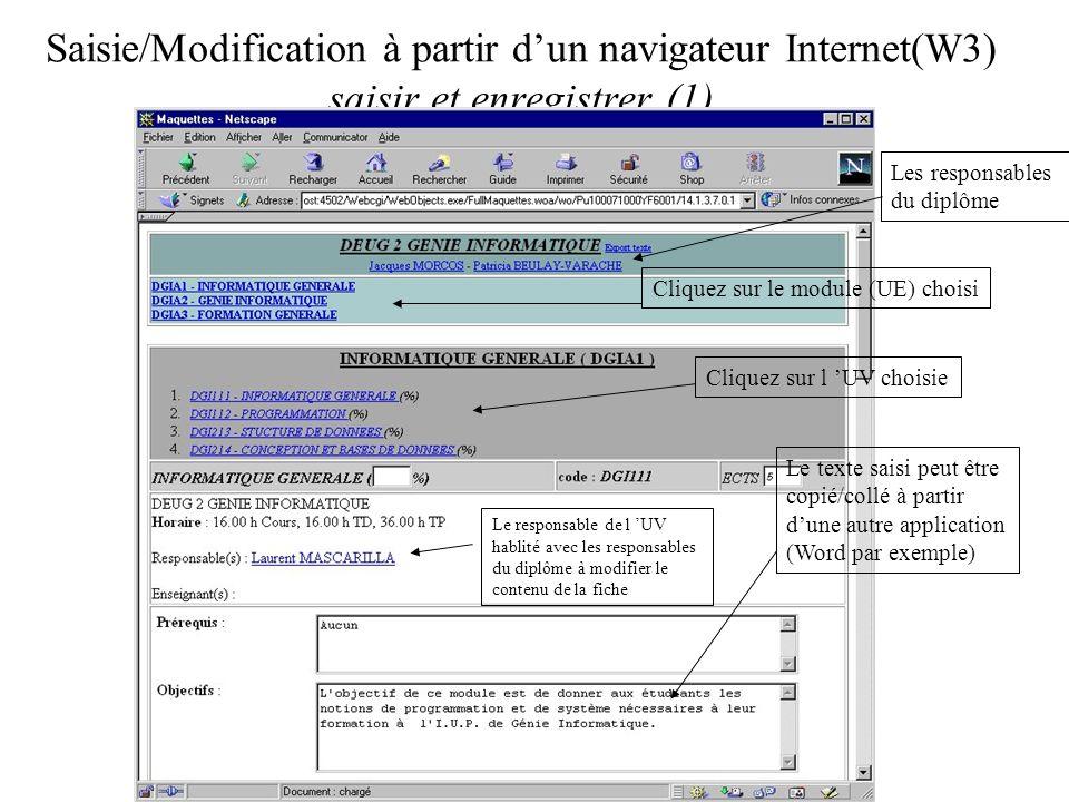Saisie/Modification à partir dun navigateur Internet(W3) saisir et enregistrer (1) Le texte saisi peut être copié/collé à partir dune autre application (Word par exemple) Cliquez sur le module (UE) choisi Cliquez sur l UV choisie Les responsables du diplôme Le responsable de l UV hablité avec les responsables du diplôme à modifier le contenu de la fiche