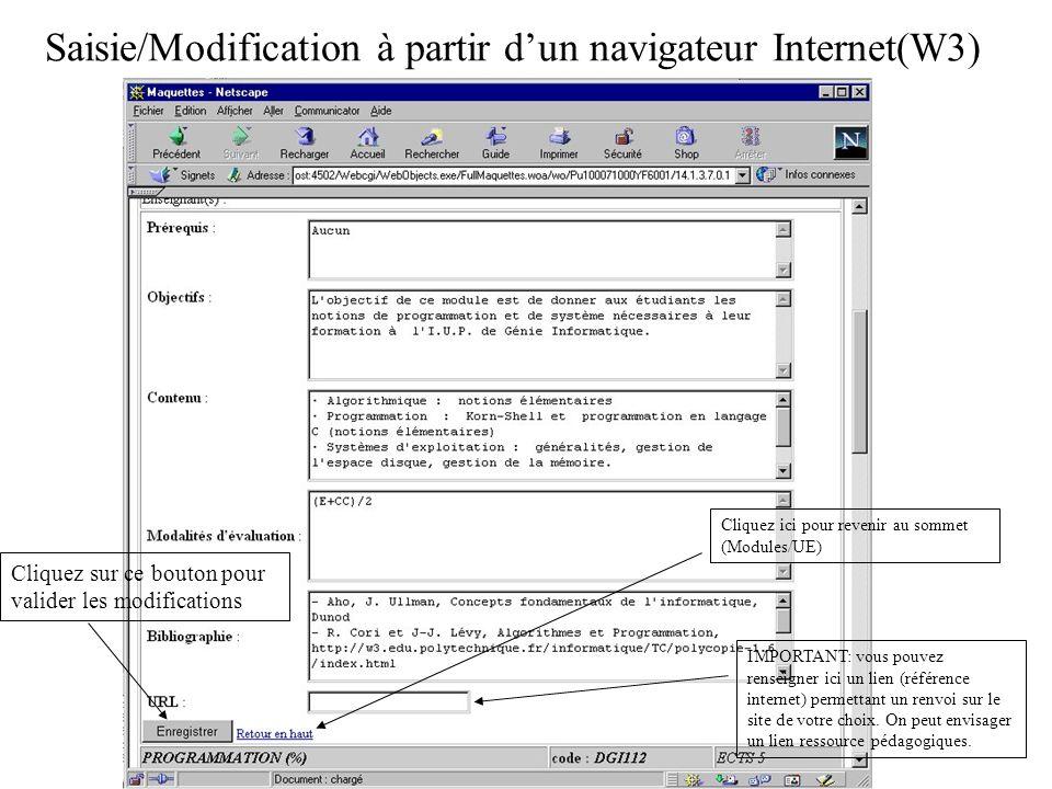 Saisie/Modification à partir dun navigateur Internet(W3) saisir et enregistrer (2) Cliquez sur ce bouton pour valider les modifications Cliquez ici pour revenir au sommet (Modules/UE) IMPORTANT: vous pouvez renseigner ici un lien (référence internet) permettant un renvoi sur le site de votre choix.