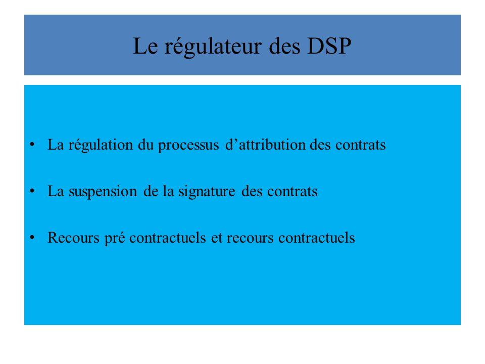 Le régulateur des DSP La régulation du processus dattribution des contrats La suspension de la signature des contrats Recours pré contractuels et recours contractuels