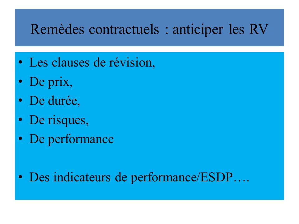 Remèdes contractuels : anticiper les RV Les clauses de révision, De prix, De durée, De risques, De performance Des indicateurs de performance/ESDP….