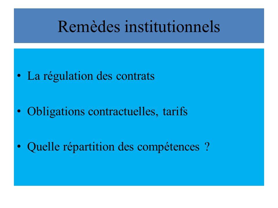 Remèdes institutionnels La régulation des contrats Obligations contractuelles, tarifs Quelle répartition des compétences ?