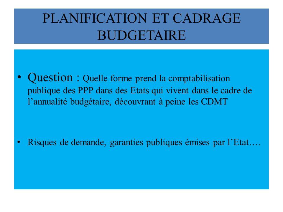 PLANIFICATION ET CADRAGE BUDGETAIRE Question : Quelle forme prend la comptabilisation publique des PPP dans des Etats qui vivent dans le cadre de lannualité budgétaire, découvrant à peine les CDMT Risques de demande, garanties publiques émises par lEtat….