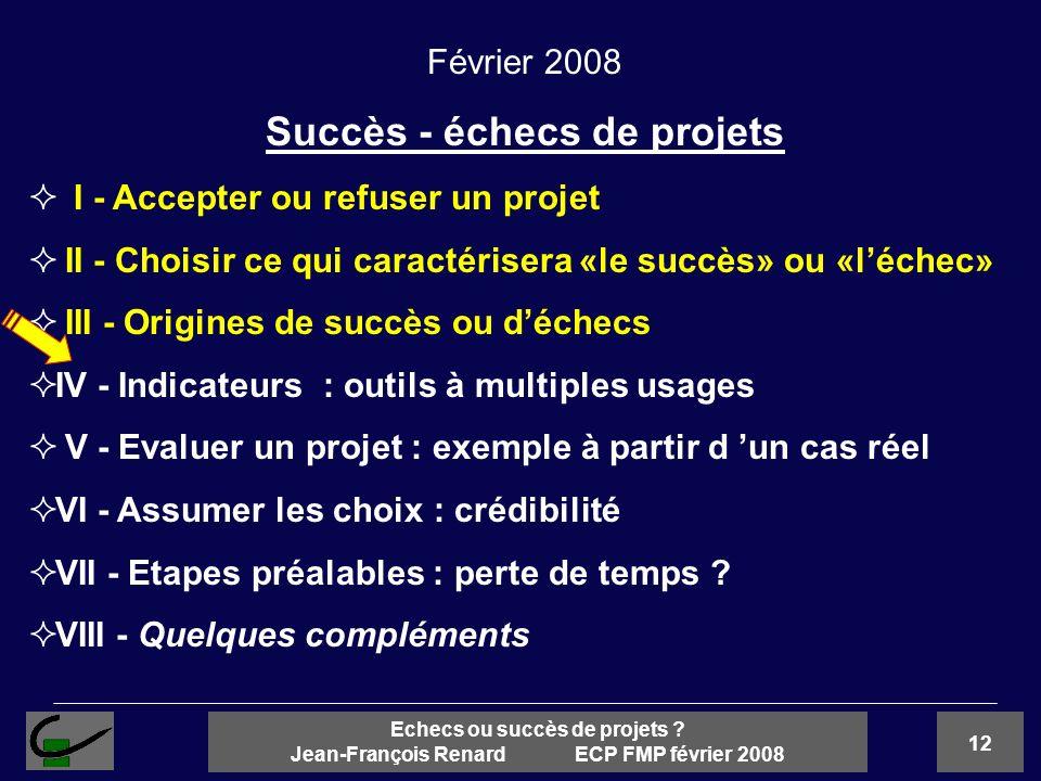 12 Echecs ou succès de projets ? Jean-François Renard ECP FMP février 2008 Février 2008 Succès - échecs de projets I - Accepter ou refuser un projet I