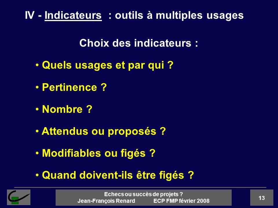 13 Echecs ou succès de projets ? Jean-François Renard ECP FMP février 2008 Choix des indicateurs : Quels usages et par qui ? Pertinence ? Nombre ? Att