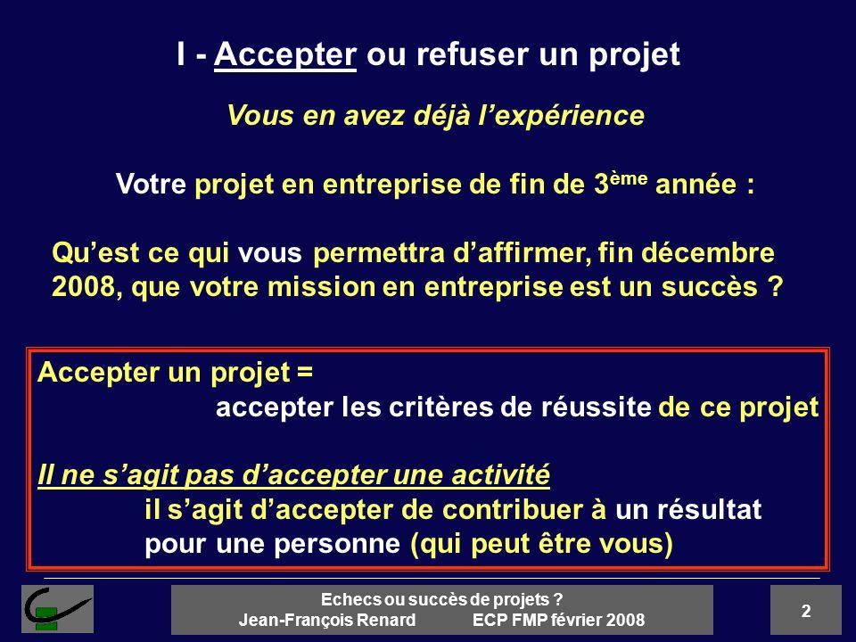 2 Echecs ou succès de projets ? Jean-François Renard ECP FMP février 2008 I - Accepter ou refuser un projet Vous en avez déjà lexpérience Votre projet