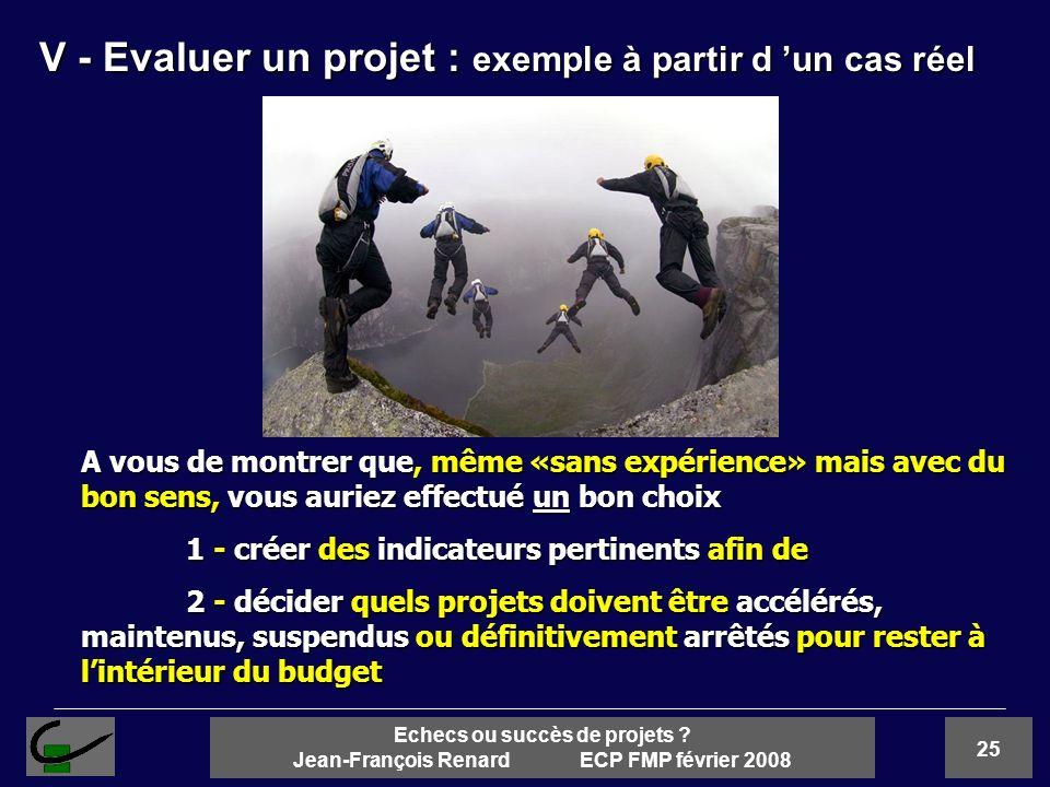 25 Echecs ou succès de projets ? Jean-François Renard ECP FMP février 2008 A vous de montrer que, même «sans expérience» mais avec du bon sens, vous a