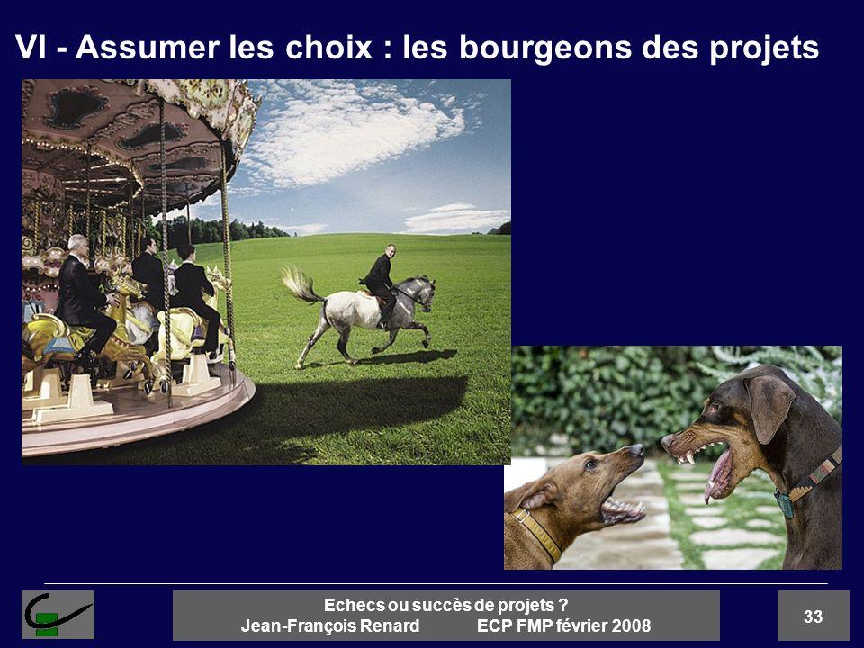 33 Echecs ou succès de projets ? Jean-François Renard ECP FMP février 2008 VI - Assumer les choix : les bourgeons des projets
