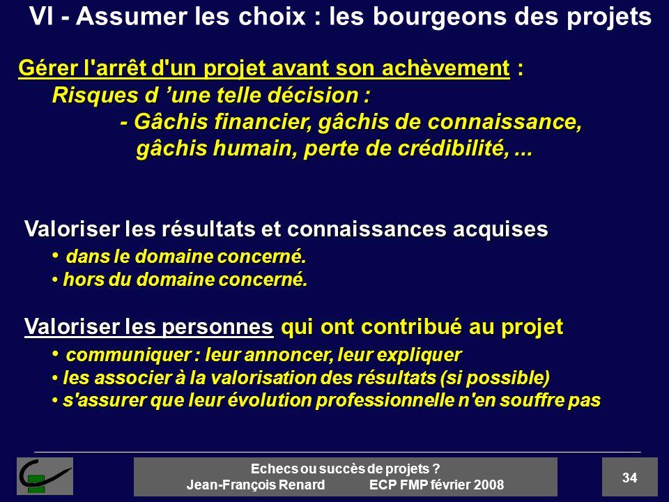 34 Echecs ou succès de projets ? Jean-François Renard ECP FMP février 2008 Gérer l'arrêt d'un projet avant son achèvement : Risques d une telle décisi