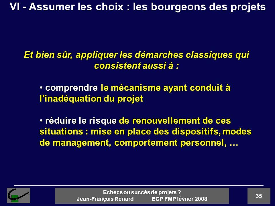 35 Echecs ou succès de projets ? Jean-François Renard ECP FMP février 2008 Et bien sûr, appliquer les démarches classiques qui consistent aussi à : co