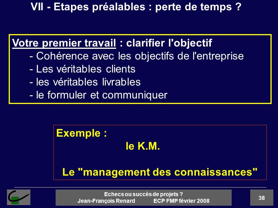 38 Echecs ou succès de projets ? Jean-François Renard ECP FMP février 2008 Votre premier travail : clarifier l'objectif - Cohérence avec les objectifs