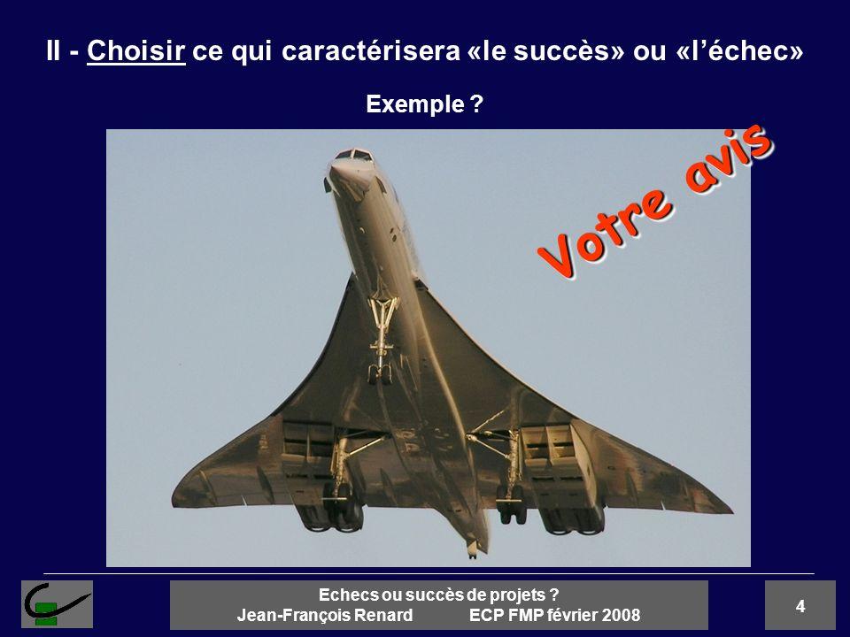 4 Echecs ou succès de projets ? Jean-François Renard ECP FMP février 2008 II - Choisir ce qui caractérisera «le succès» ou «léchec» Exemple ? Votre av