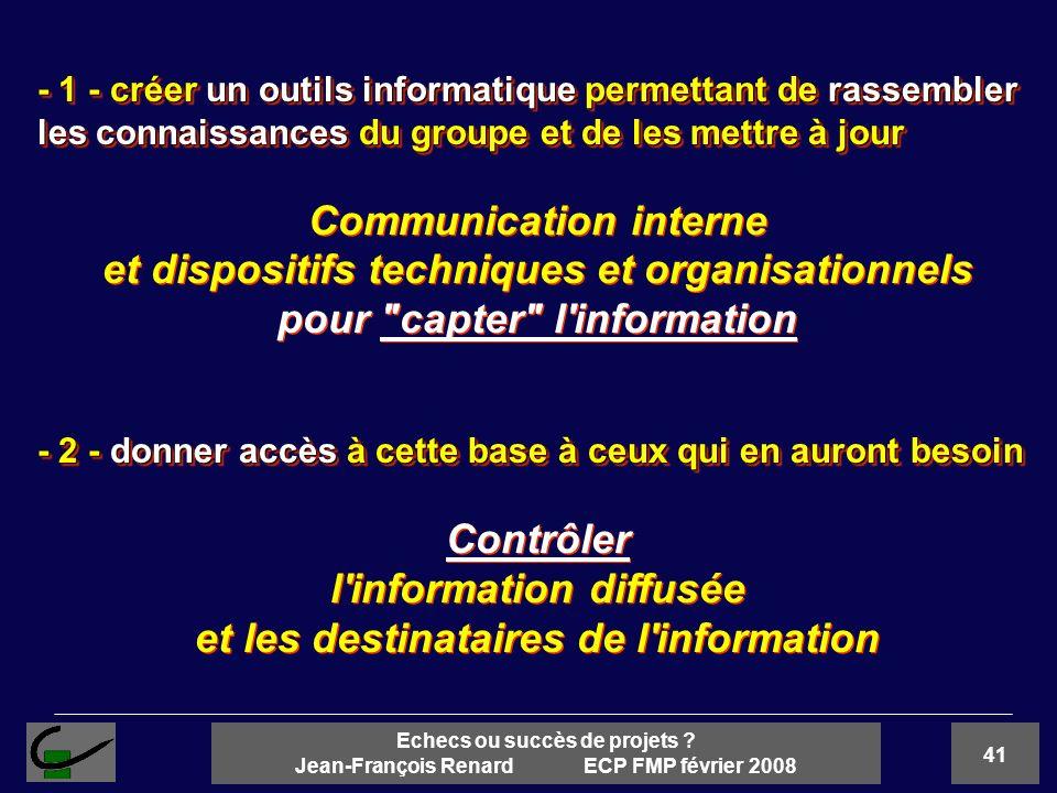 41 Echecs ou succès de projets ? Jean-François Renard ECP FMP février 2008 - 1 - créer un outils informatique permettant de rassembler les connaissanc