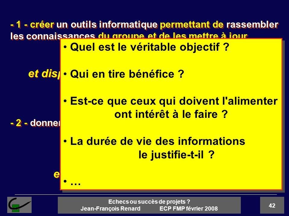 42 Echecs ou succès de projets ? Jean-François Renard ECP FMP février 2008 - 1 - créer un outils informatique permettant de rassembler les connaissanc