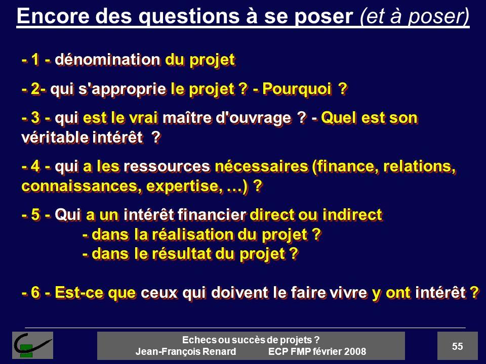 55 Echecs ou succès de projets ? Jean-François Renard ECP FMP février 2008 - 1 - dénomination du projet - 2- qui s'approprie le projet ? - Pourquoi ?