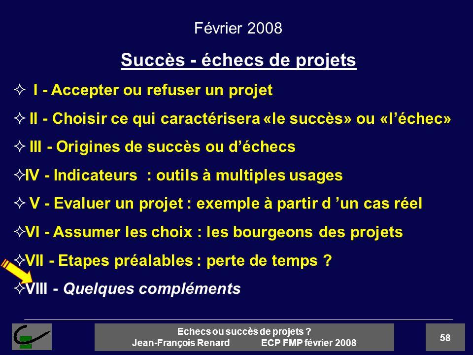 58 Echecs ou succès de projets ? Jean-François Renard ECP FMP février 2008 Février 2008 Succès - échecs de projets I - Accepter ou refuser un projet I