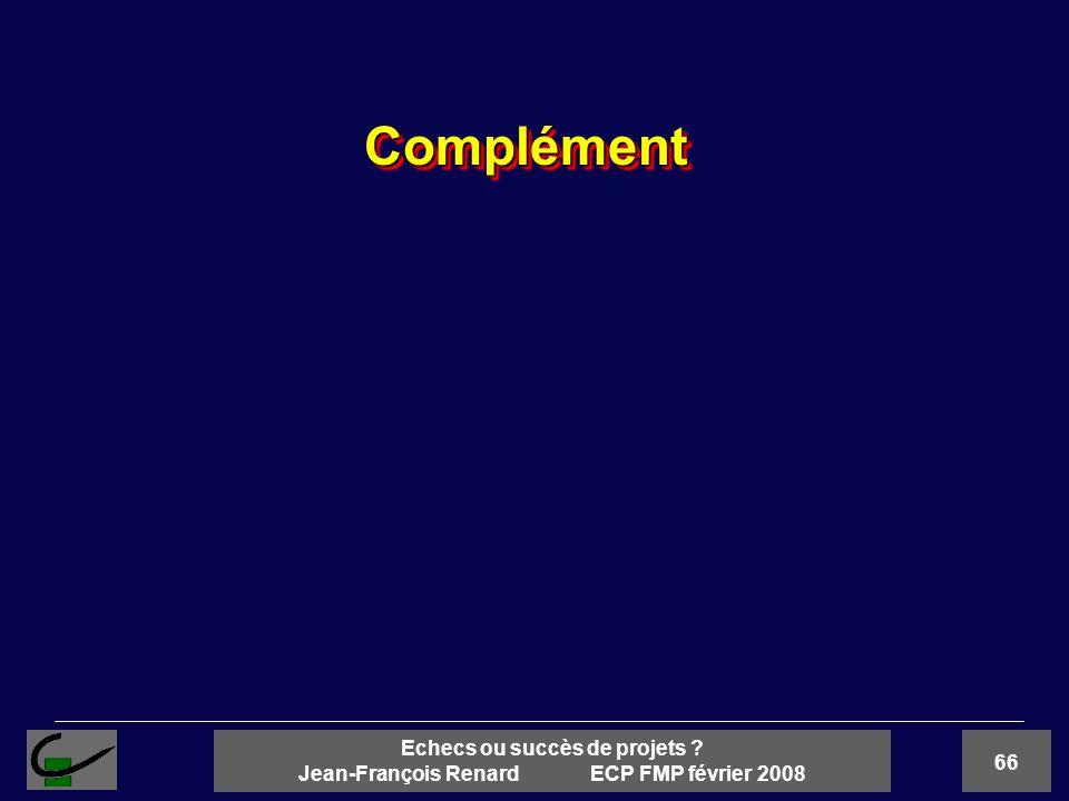 66 Echecs ou succès de projets ? Jean-François Renard ECP FMP février 2008 ComplémentComplément