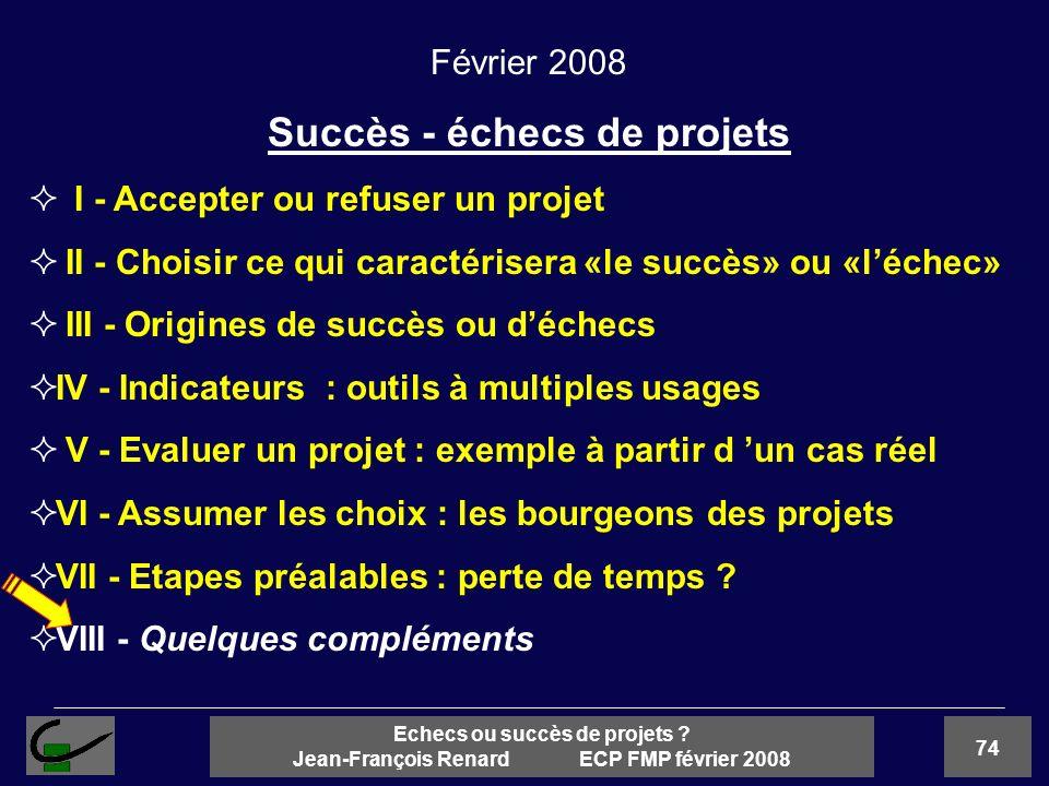74 Echecs ou succès de projets ? Jean-François Renard ECP FMP février 2008 Février 2008 Succès - échecs de projets I - Accepter ou refuser un projet I