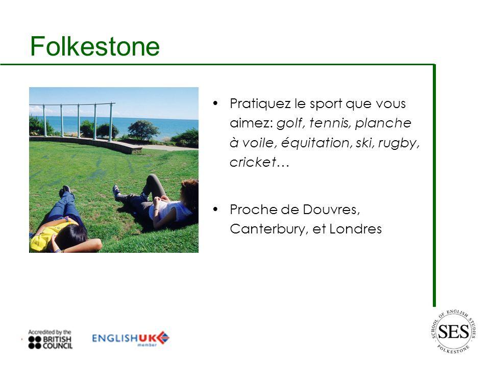 Folkestone Pratiquez le sport que vous aimez: golf, tennis, planche à voile, équitation, ski, rugby, cricket… Proche de Douvres, Canterbury, et Londres