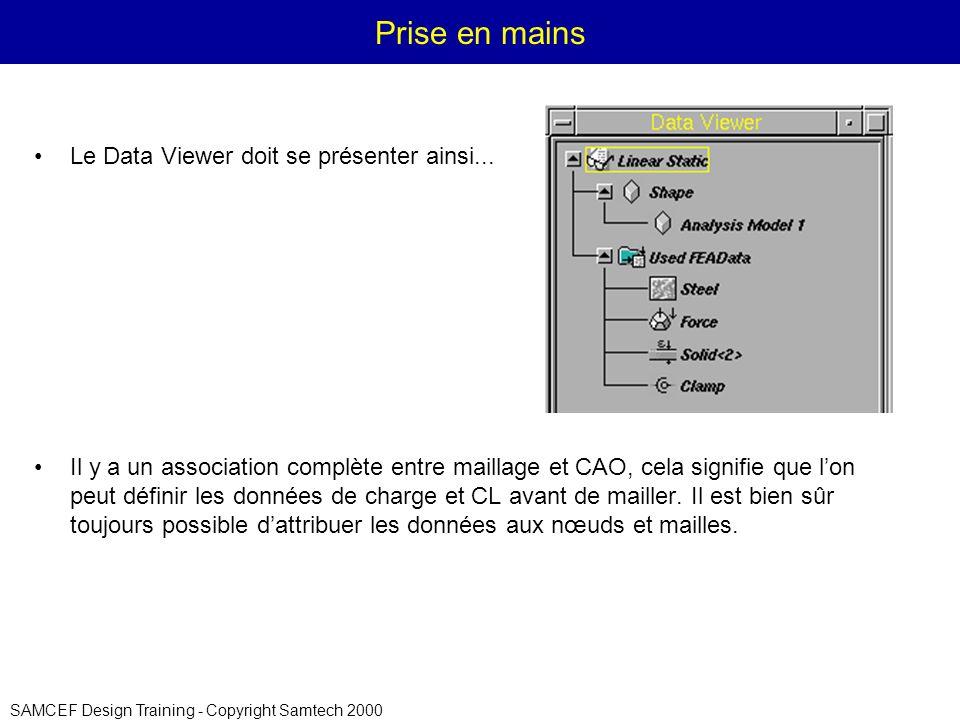 SAMCEF Design Training - Copyright Samtech 2000 Prise en mains Le Data Viewer doit se présenter ainsi...