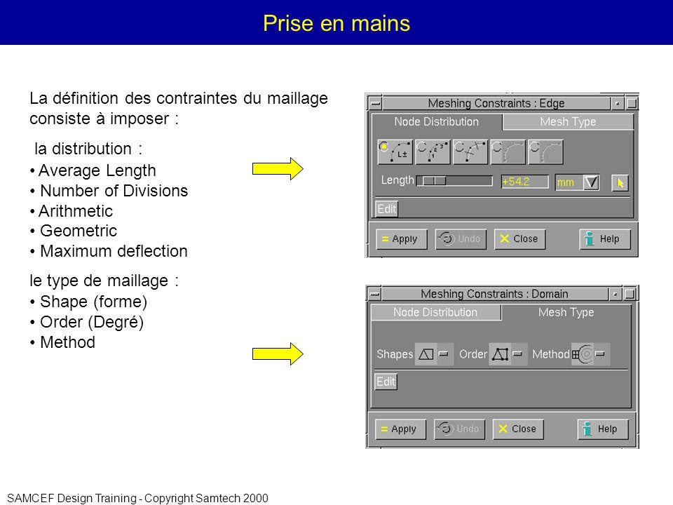 SAMCEF Design Training - Copyright Samtech 2000 Prise en mains La définition des contraintes du maillage consiste à imposer : la distribution : Average Length Number of Divisions Arithmetic Geometric Maximum deflection le type de maillage : Shape (forme) Order (Degré) Method