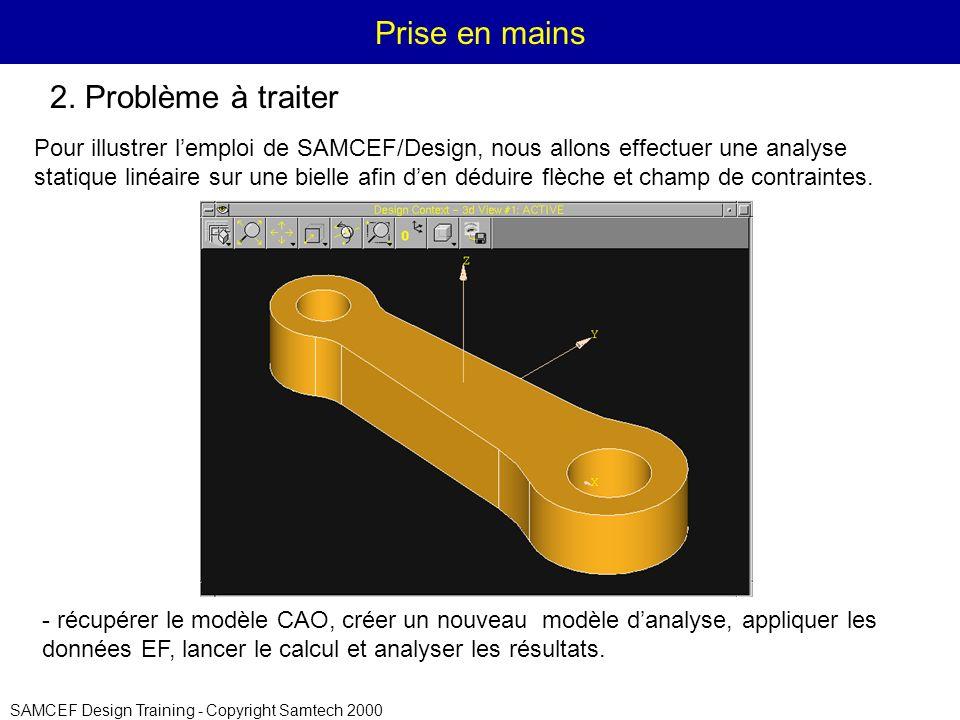 SAMCEF Design Training - Copyright Samtech 2000 Prise en mains Pour illustrer lemploi de SAMCEF/Design, nous allons effectuer une analyse statique linéaire sur une bielle afin den déduire flèche et champ de contraintes.