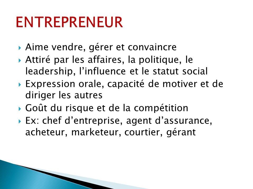 Aime vendre, gérer et convaincre Attiré par les affaires, la politique, le leadership, linfluence et le statut social Expression orale, capacité de mo