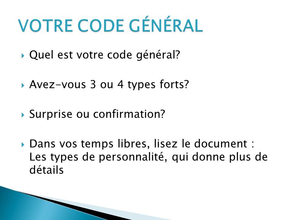 Quel est votre code général? Avez-vous 3 ou 4 types forts? Surprise ou confirmation? Dans vos temps libres, lisez le document : Les types de personnal