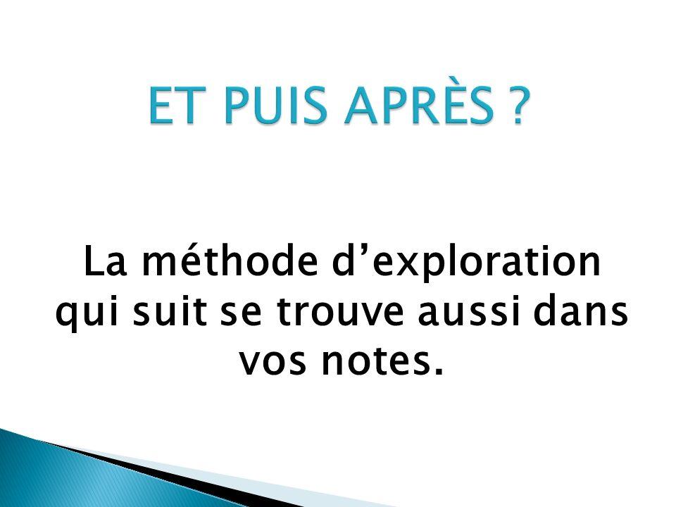 La méthode dexploration qui suit se trouve aussi dans vos notes.